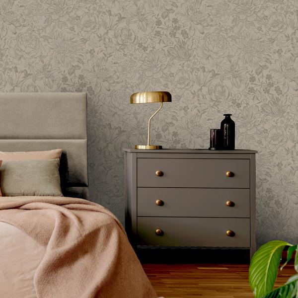 papel de parede bakau flores com metalizado