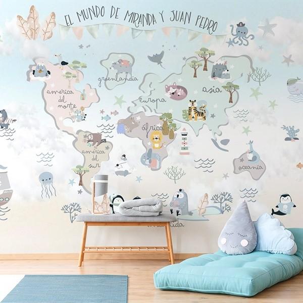 mural infantil mapa mundi divertido para paredes