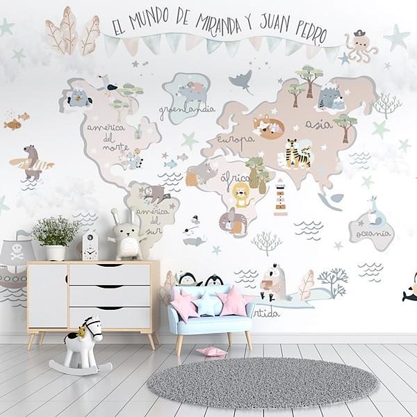 mural decorativo infantil mapa mundi vinilart