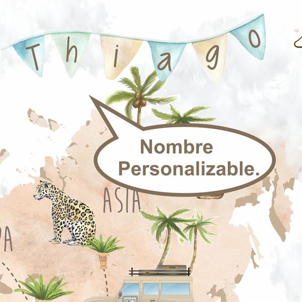 painel infantil mapa mundi personalizável