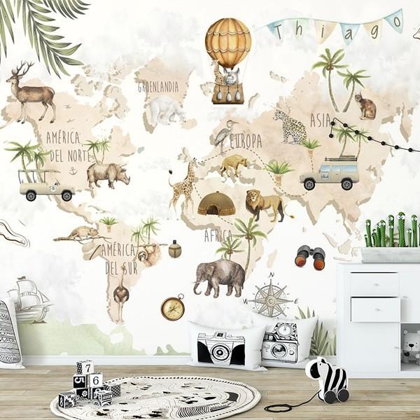 painel decorativo infantil mapa mundi safari