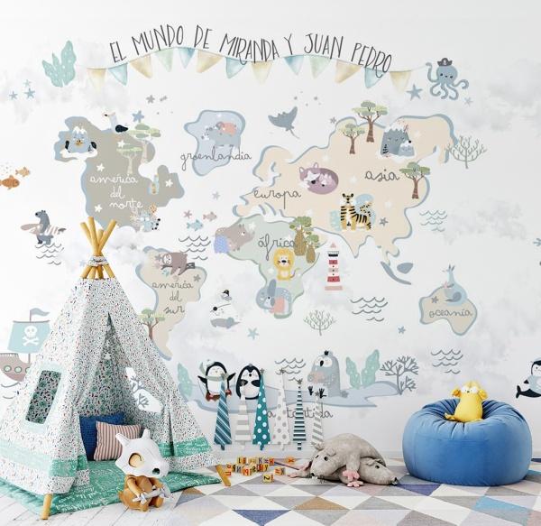 mural decorativo infantil mapa mundi divertido