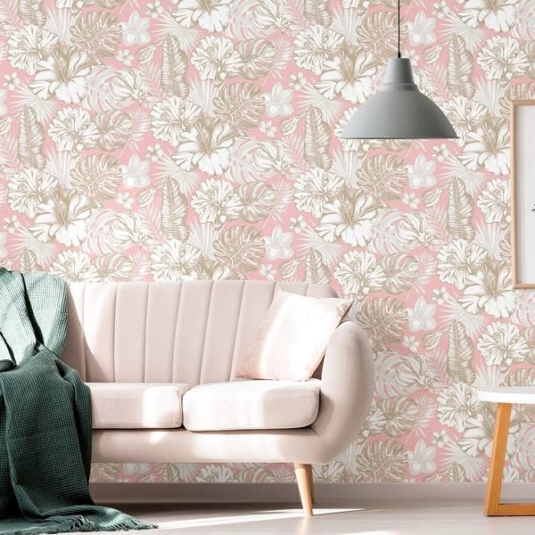 papel de parede tropical rosa