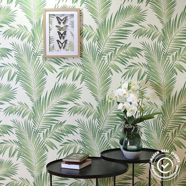 papel de parede folhas verdes de palmeira