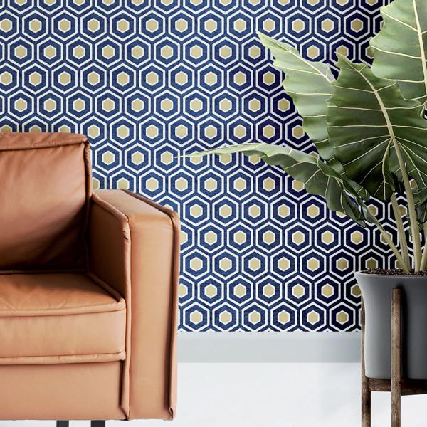 papel de parede geométrico blue jeans amazzonia
