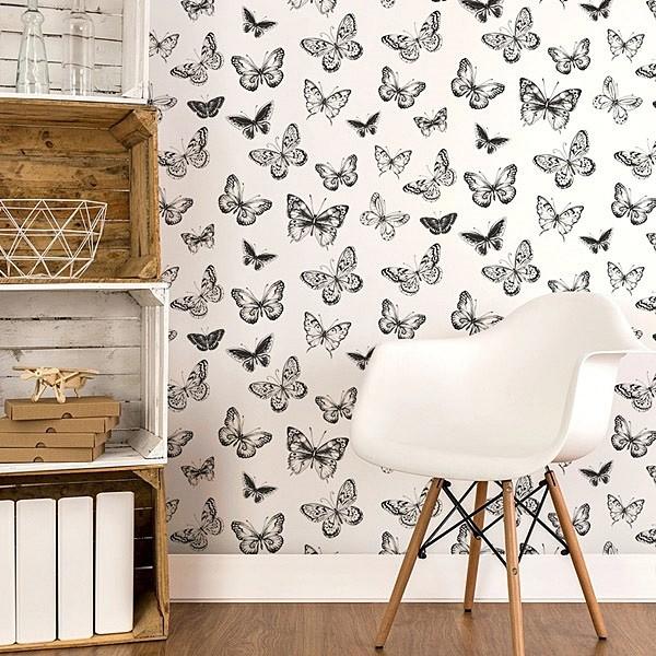 papel de parede borboletas preto e branco