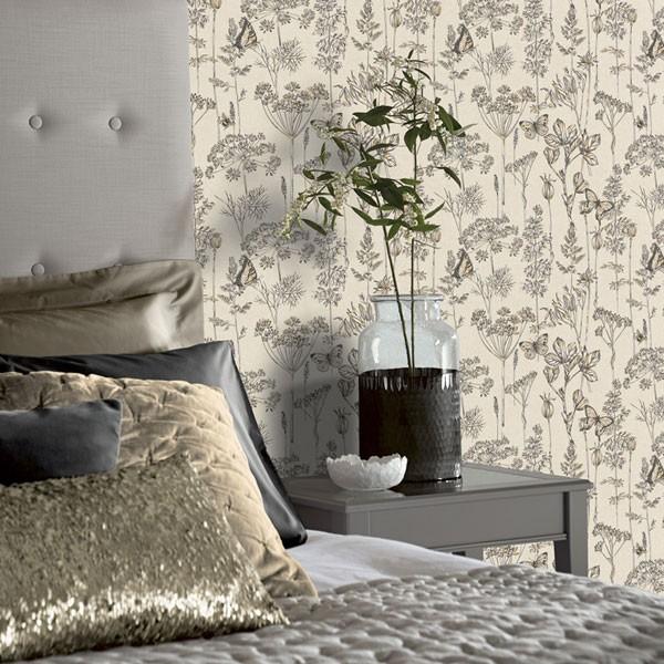 papel de parede borboleta e flores