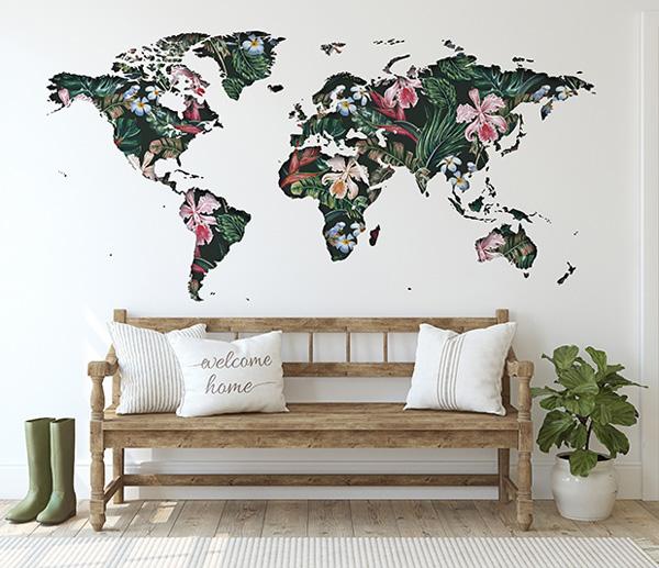 Vinil para parede mapa mundo com natureza
