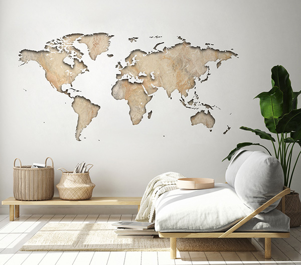 vinil para parede mapa mundi