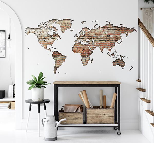 Vinil mapa mundo para parede