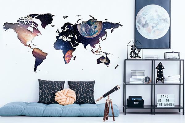 Vinil para parede mapa mundo espacial