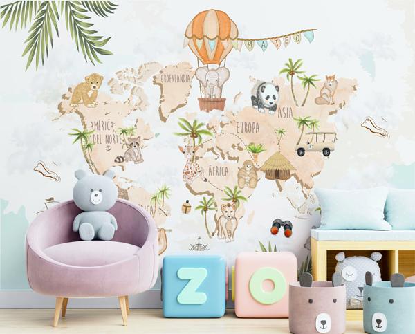 painel infantil mapa mundo safari
