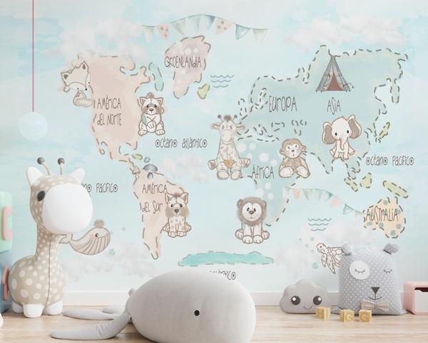 mural decorativo infantil com desenho de mapa mundo