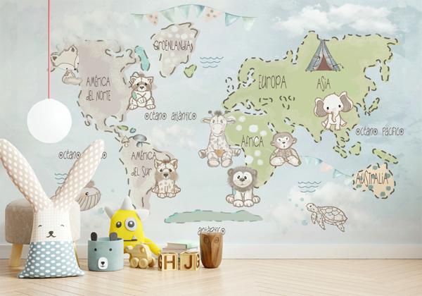 mural infantil mapa mundo personalizável