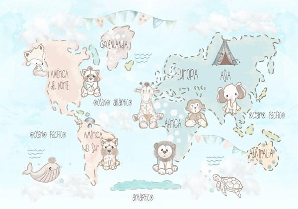 mural infantil mapa mundi personalizado