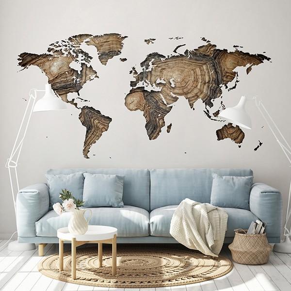 Vinil para parede mapa mundo imitação madeira