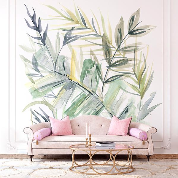 Painel decorativo natureza em aquarela