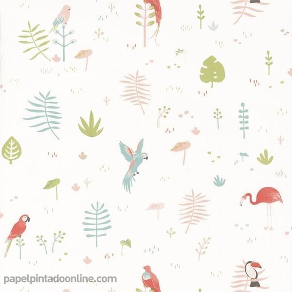 Papel de parede infantil desenhos de aves
