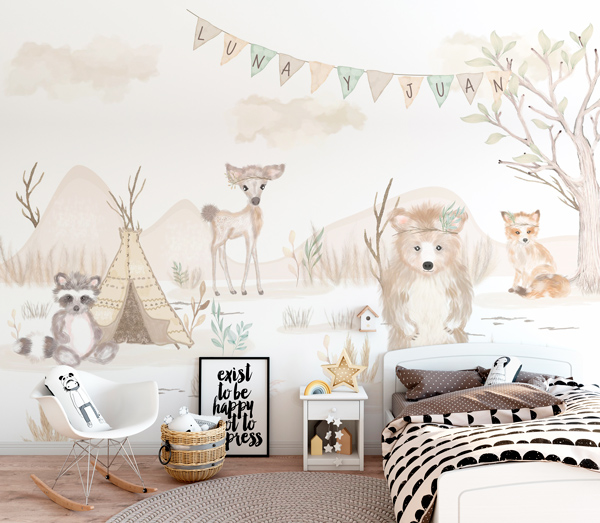 Mural decorativo infantil com animais na floresta