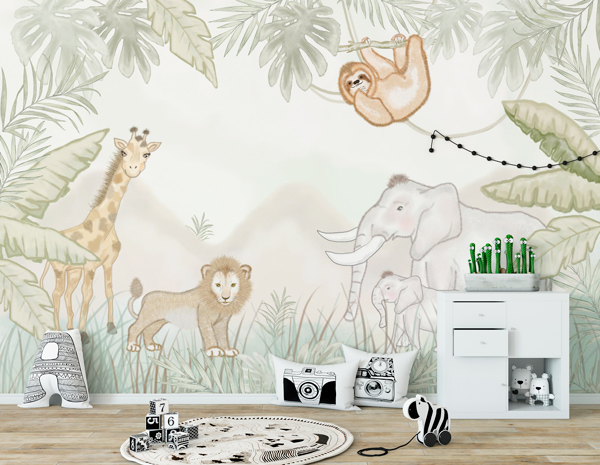Mural infantil para decoração de paredes com tema de Floresta e animais divertido