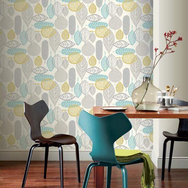 papel de parede retro estampa floral